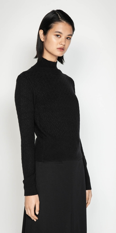 Work From Home  | Textured Funnel Neck Sweater