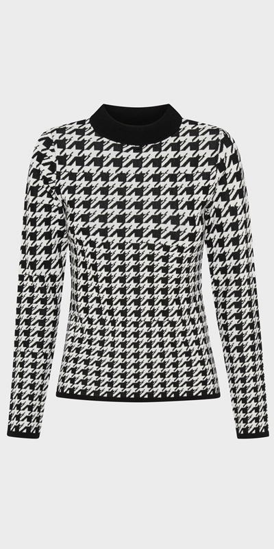 Work From Home | Houndstooth Jacquard Knit