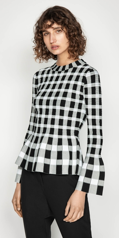 Tops  | Shirred Mini Check Knit