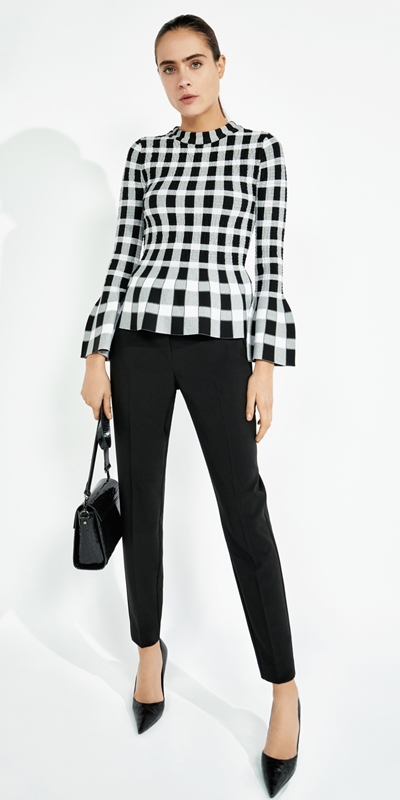 Wear to Work  | Shirred Mini Check Knit