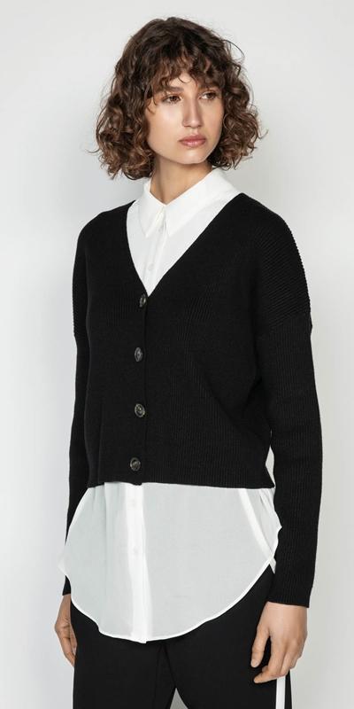 Knitwear  | V-Neck Rib Cardigan