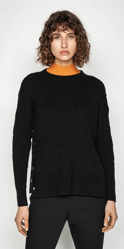 Knitwear | Side Split Cable Sweater