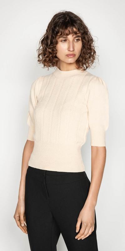 Knitwear | Herringbone Rib Short Sleeve Sweater