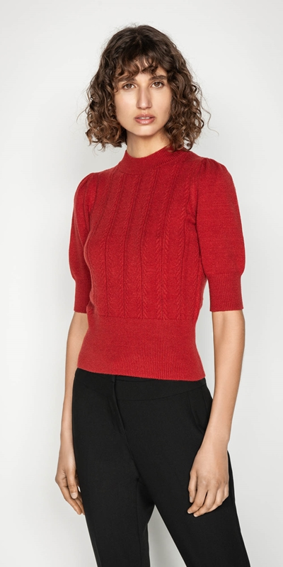 Wear to Work  | Herringbone Rib Short Sleeve Sweater