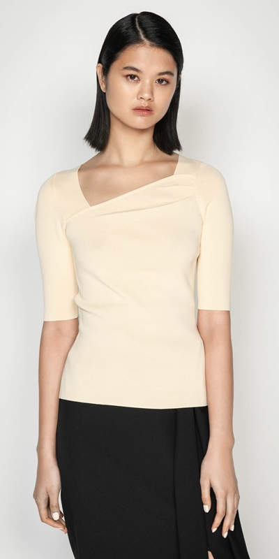 Tops  | Angled Square Neck Knit