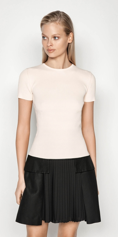 Tops  | Short Sleeve Round Neck Rib Knit