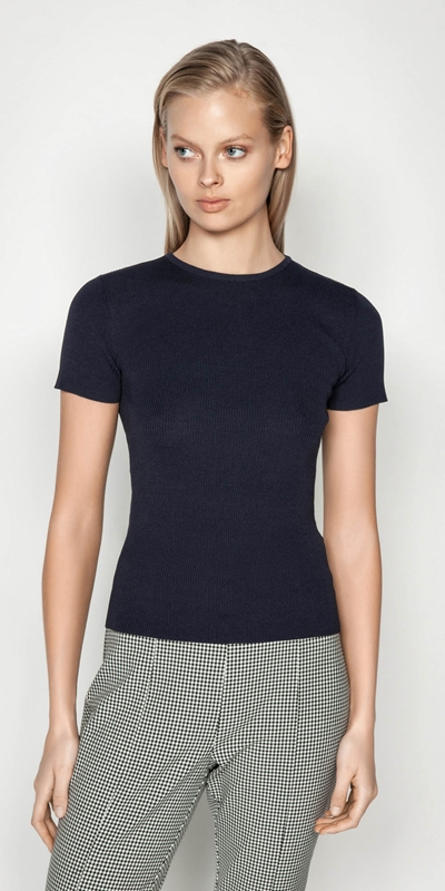 Wear to Work  | Short Sleeve Round Neck Rib Knit
