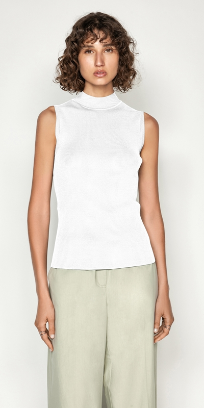 Tops  | Funnel Neck Rib Tank