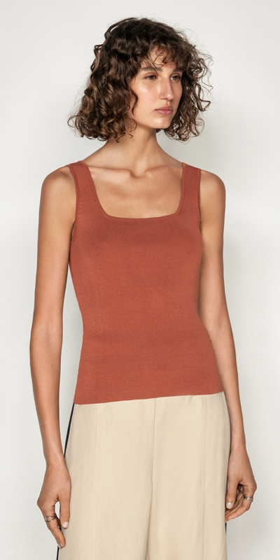 Tops  | Square Neck Knit Tank