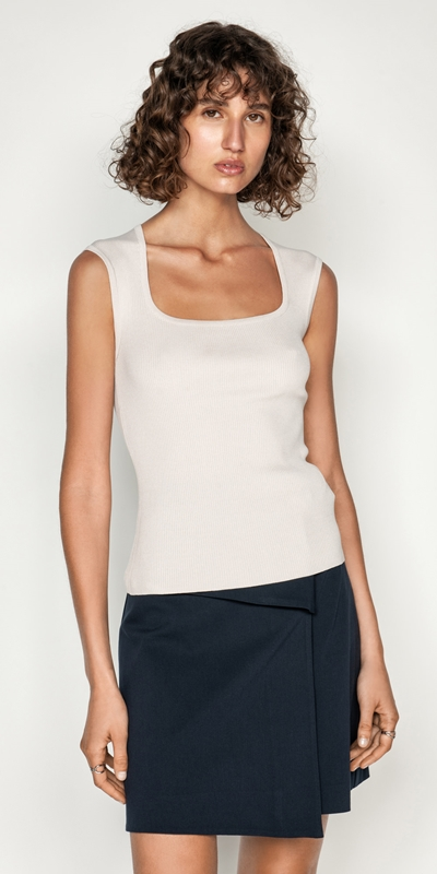 Tops  | Cap Sleeve Square Neck Rib Knit