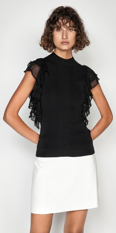 Sale  | Solid and Sheer Ruffle Knit