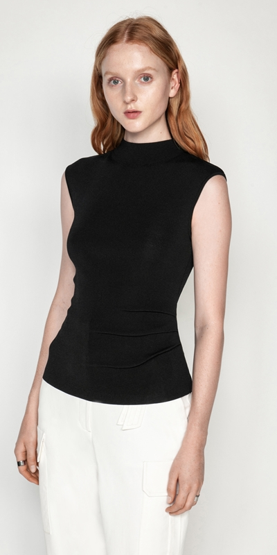Tops  | Asymmetric Tuck Funnel Neck Knit