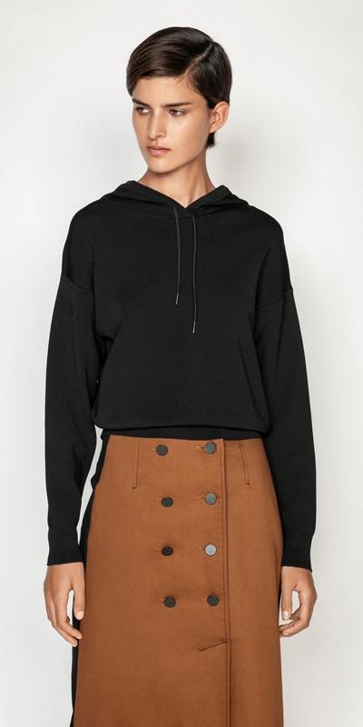Knitwear  | Structured Knit Hoodie Sweater
