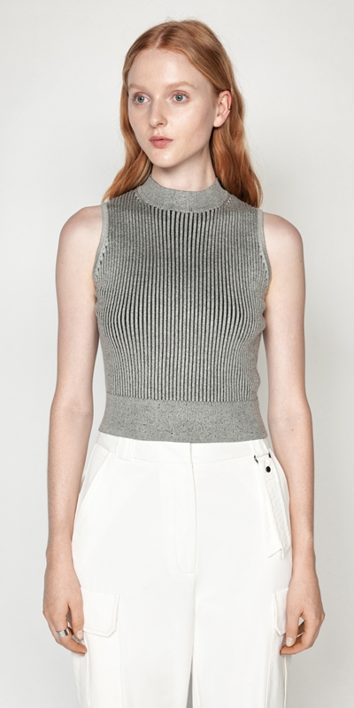 Knitwear  | Two Tone Cropped Ribbed Knit