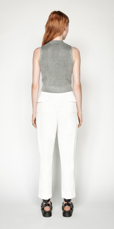 Knitwear   Two Tone Cropped Ribbed Knit