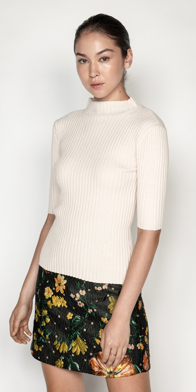 Knitwear  | Ribbed Elbow Sleeve Funnel Neck Knit