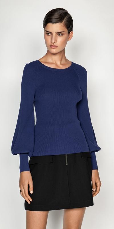 Tops and Shirts  | Blouson Sleeve Ribbed Knit