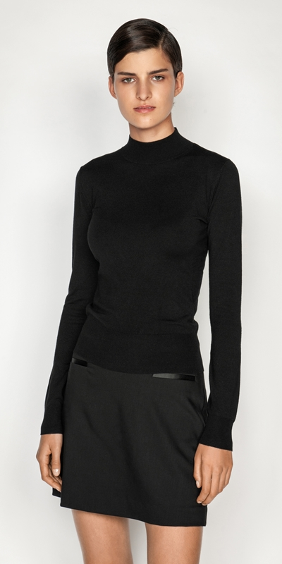 Tops and Shirts  | Long Sleeve Funnel Neck Knit