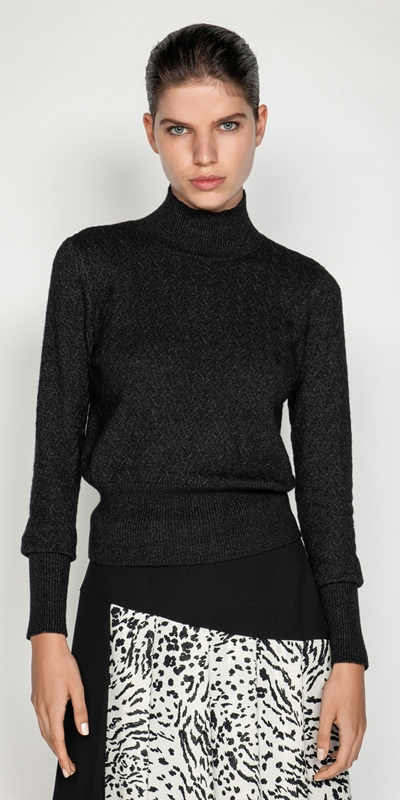 Knitwear  | Textured Funnel Neck Sweater
