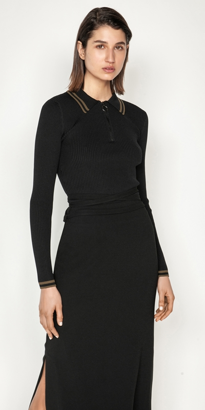 Tops and Shirts  | Zip Front Collared Knit