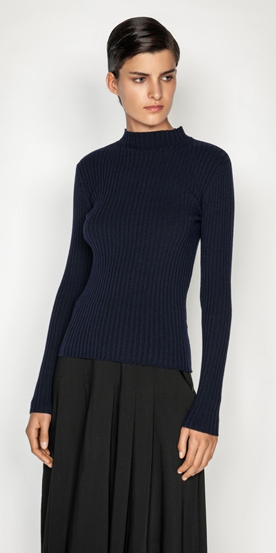 Sale  | Ribbed Long Sleeve Funnel Neck Knit