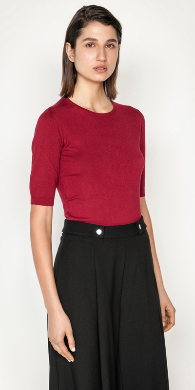 Tops and Shirts  | Elbow Sleeve Round Neck Knit