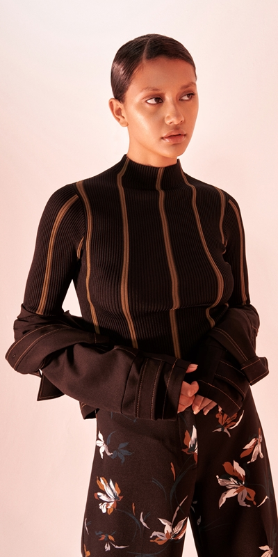 Tops and Shirts  | Stripe Funnel Neck Knit