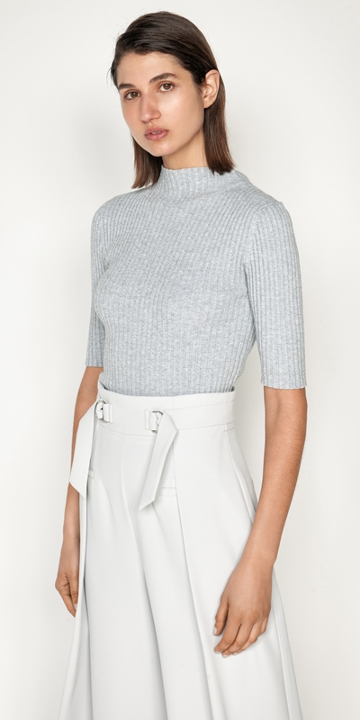Tops and Shirts  | Ribbed Elbow Sleeve Funnel Neck Knit