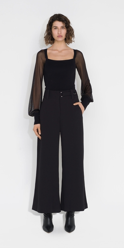 Tops and Shirts | Sheer Sleeve Square Neck Knit