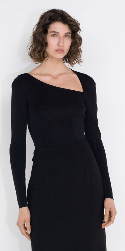 Tops and Shirts  | Asymmetric Neck Knit