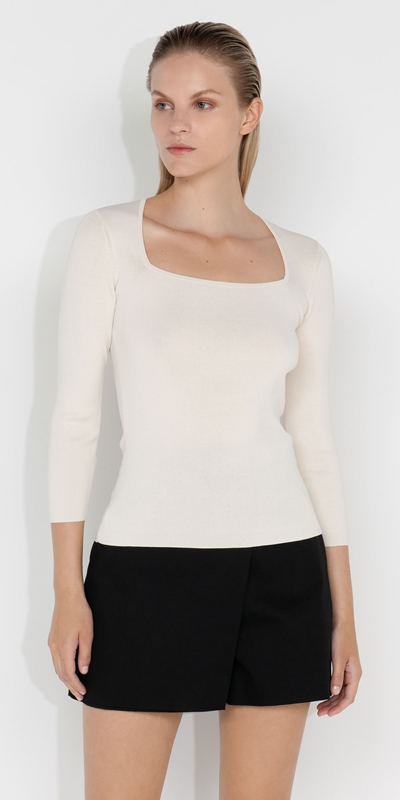 Tops and Shirts  | Square Neck 3/4 Sleeve Knit