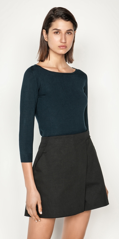 Tops and Shirts  | Boat Neck 3/4 Sleeve Knit