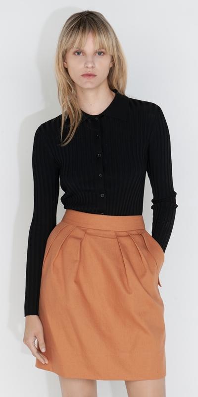 Tops and Shirts  | Polo Collar Slinky Rib Knit