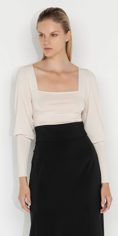 Knitwear    Ruched Puff Sleeve Knit