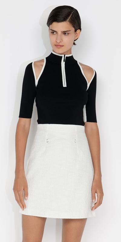 Knitwear    Zip Front Cut Out Knit