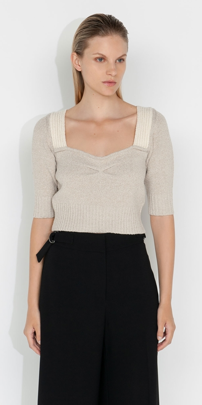 Knitwear    Cropped Square Neck Boucle Knit