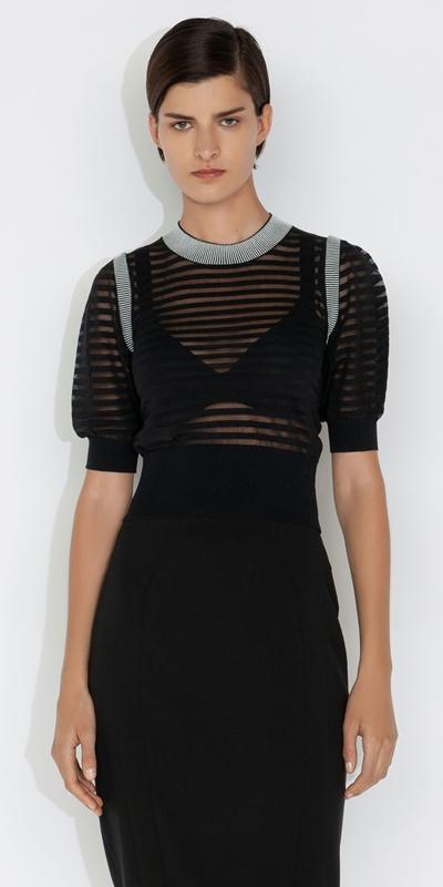 Knitwear    Sheer Stripe Short Sleeve Knit