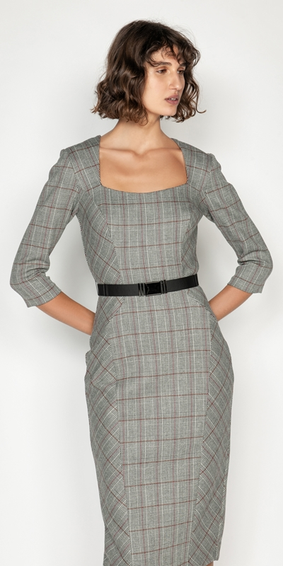 Sale  | Houndstooth Belted Pencil Dress