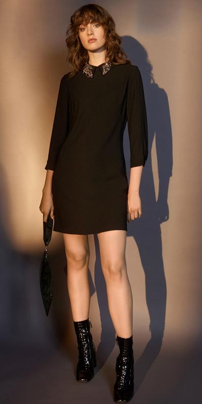 Dresses  | Embellished Collar Crepe Dress