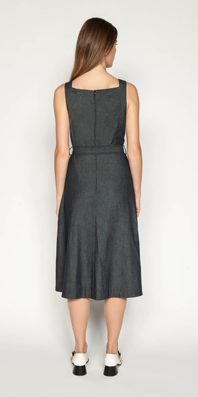 Dresses | Belted Soft Denim Dress