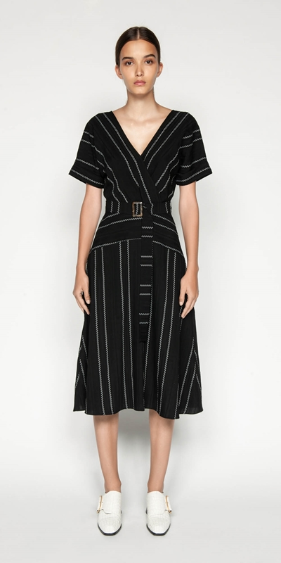 Sale | Jacquard Stripe Belted Midi Dress
