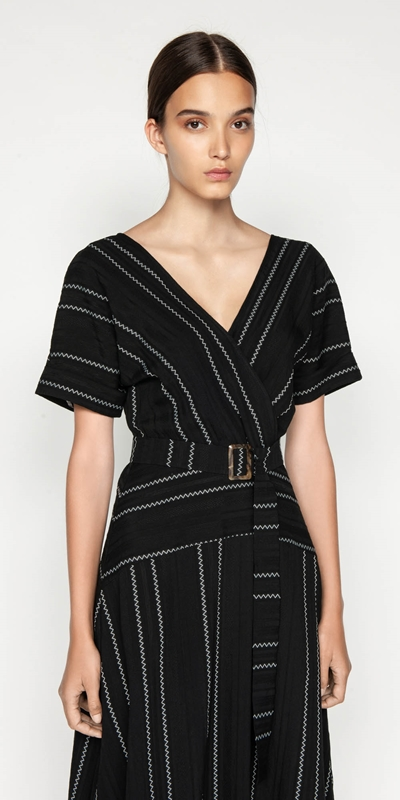 Dresses | Jacquard Stripe Belted Midi Dress