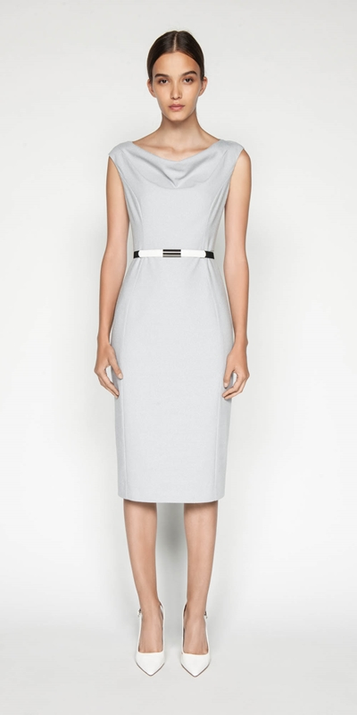 Dresses | Belted Textured Pencil Dress