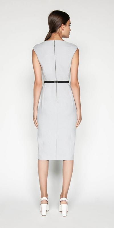 Dresses | Belted Textured Pencil Dress