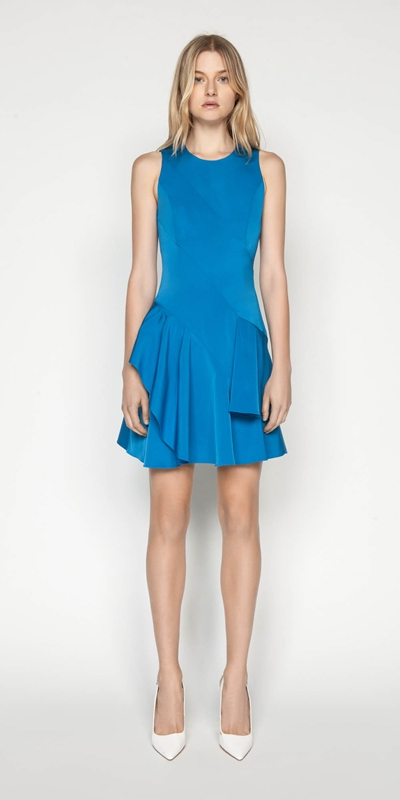 Sale | Faille Asymmetric Frill Hem Dress