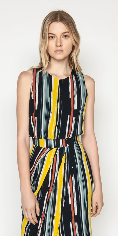 Dresses  | Bold Stripe Draped Dress