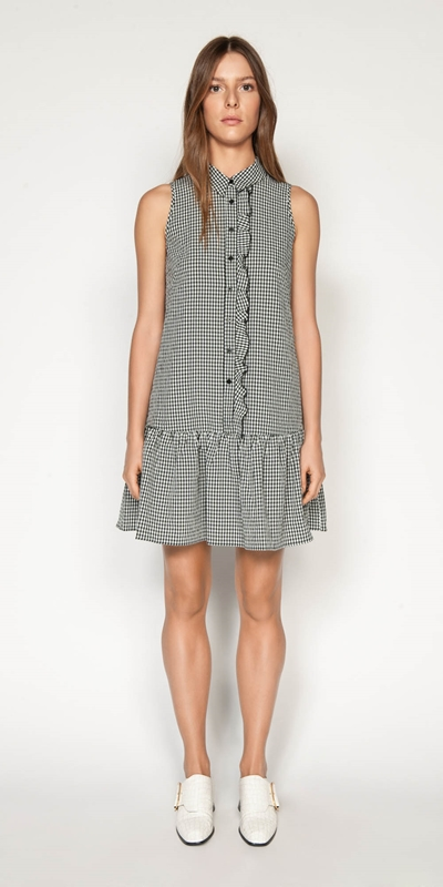 Dresses | Crinkle Gingham Button Front Dress