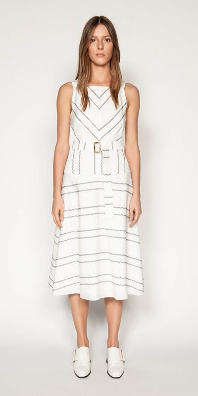 Sale | Jacquard Stripe Viscose Dress