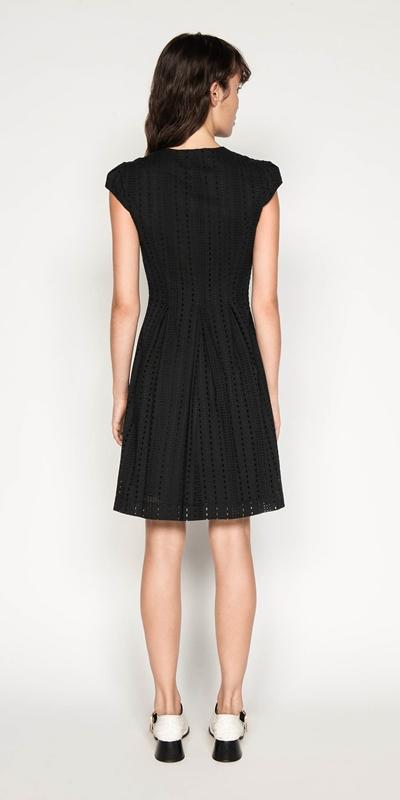 Dresses | Stripe Broderie Zip Front Dress