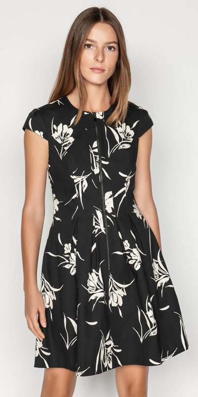 Dresses  | Monochrome Floral Zip Front Dress